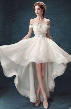 Boho Off Shoulder High Low Lace Organza Wedding Dress