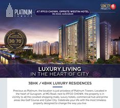 Luxury Apartments in Gurgaon, MG Road 3/4 Beds, Shopping Malls, Futuristic Technology, Real Estate Development, Luxury Apartments, Luxury Living, Towers, Live Life, Flexibility
