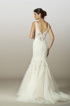 Style 5843 - Liancarlo French Lyon lace on tulle drop-torso v-neck mermaid gown in Ivory