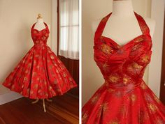 COUTURE 1950's New Look Rich Red Asian Silk Brocade Halter Party Dress w/ 3D Pleated Shelf Bust - Gold & Purple Mums - Mint - Size M to L. $350.00, via Etsy.