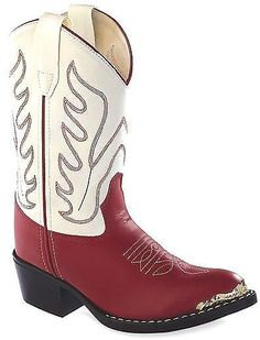 Kids Red and White Western Boots