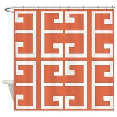 Orange and White Spanish Tile Shower Curtain on CafePress.com
