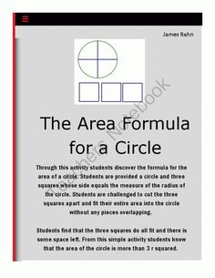 Middle school math projectcircle in a square exploring area of a circle from jamesrahn on teachersnotebook 3 pages ccuart Images