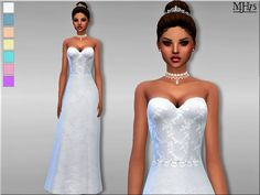 -a beautiful delicate wedding dress with sweetheart neck line and soft lace and diamond embellishments, will make any bride look amazing on their special day Found in TSR Category 'Sims 4 Female. Sims 4 Wedding Dress, Wedding Day Dresses, Maxis, Delicate Wedding Dress, Sims 4 Clothing, Female Clothing, Clothing Sets, Sims4 Clothes, The Sims4