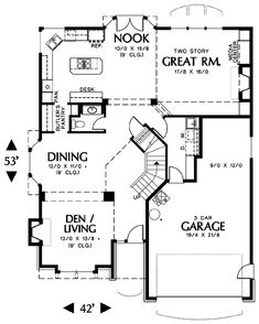 Mountain House Plans, Square Feet, New Homes, Floor Plans, House Design, Flooring, Traditional, How To Plan, Bedroom