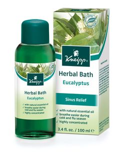 Kneipp    Product: Eucalyptus Cold & Flu Herbal Bath    Active Herb: Eucalyptus Sinus Relief -A natural disinfectant, relief of runny nose, sinus congestion and allergies. This highly concentrated bath treatment with aroma-intensive, essential eucalyptus oil from an evergreen tree, stimulates and helps relieve sinuses especially during cold and flu season. Use Eucalyptus when you feel feel a cold or flu coming. The signs could be chills, stuffy nose, head congestion, general tiredness. $21