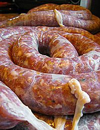Loukaniko Sausage Recipe - How to Make Greek Sausage sausage and veggies;recipes with sausage dinner;spaghetti with sausage;orrechiette with sausage; Homemade Sausage Recipes, Pork Recipes, Cooking Recipes, Home Made Sausage, Barbecue Pork Ribs, Specialty Meats, How To Make Sausage, Sausage Making, Meat And Cheese