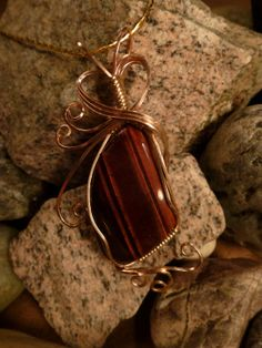 Red Tiger Eye Wrapped Pendant in Gold for by EarthArtsNW on Etsy, $50.00