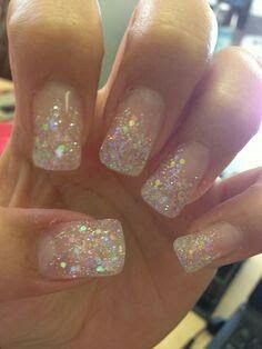 Glittery gel prom nails
