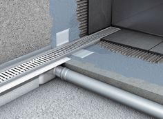 Water drainage for wet floor showers using ACO shower drains/ Scurgerea apelor la dusurile la nivelul pardoselii utilizand rigole de dus ACO >> ACO stainless steel shower drains with vertical flange/ Rigole de dus din inox ACO Shower Drain cu flansa verticala
