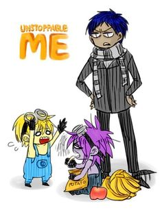 KnB x Dispicable Me Aomine, Kise, and Murasakibara