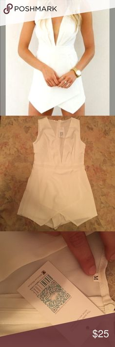 New with tags Bikini Luxe white play suit romper Bought this from another Posher but decided to wear another outfit for the bachelorette! Says M but really fits like a true S. No damage. Reasonable offers only. Ivory Romper Playsuit. bikini luxe Dresses