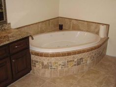 Bathroom Tub Tile Ideas Modern Design On Bathroom Corner Tub Tile Flooring Ideas Tub Tile, Bathroom Floor Tiles, Hall Bathroom, Tiling, Master Bathroom, Bathrooms, Big Tub, Corner Tub, Bathroom Pictures