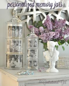 Beautiful stacked apothecary jars turned into memory jars.