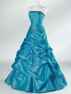 Long, beautiful, strapless, layered blue prom dress