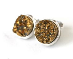 Gold Rush Druzy Quartz Stud Earrings Wire Wrapped by WrennJewelry, $25.00