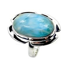 'Stone of Atlantis' Sterling Silver Rare Genuine Dominican Larimar Ring, Size 9  Price : $53.95 http://www.silverplazajewelry.com/Atlantis-Sterling-Silver-Genuine-Dominican/dp/B00TQZJN2G
