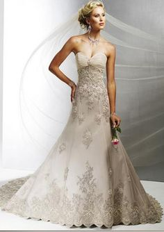 Gorgeous A-Line/Princess Sweetheart Cathedral Train Satin Tulle Wedding Dress with Lace Ruffle Beadwork
