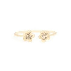 """This light and sweet little bangle is the perfect your loved one. We love Gwendolyn's """"two flowers meet"""" design and shimmering gold-set CZ shine. She'll in this blooming beauty!  Find it on Splendor Designs"""
