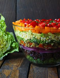 Seven Layer Salad with Creamy Salsa Vinaigrette - a beautiful rainbow of summer's best salad veggies, topped with a special dressing.
