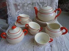 Vintage Childs Tea Set - Orange stripe - Made in Japan 1940s - 21 pieces on Etsy, $29.00