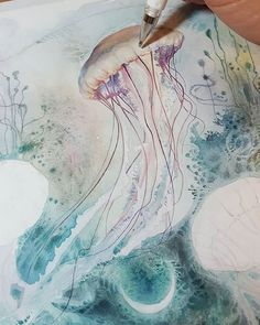 It's a rainy day today and I'm sitting down to play with some metallic gouache paints. * So far I'm just using them mixed with watercolors for some really cool abstract textures that I. Watercolor Jellyfish, Pen And Watercolor, Watercolor Flowers, Watercolor Paintings, Gouache, Dolphin Art, Water Art, Dream Art, Fantasy Art