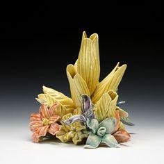 Clay Vase, Ceramic Vase, Ceramic Pottery, Tulips In Vase, Flower Vases, Flower Pots, Flower Holder, Holding Flowers, Flower Frog