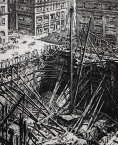 Manhattan Excavation. 1923-28. Drypoint by Sir Muirhead Bone. (Scottish…
