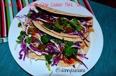Skinny Cajun Asian Slow Cooker Tacos.  Only 15 grams net carbs.  High fiber.  #crockpot