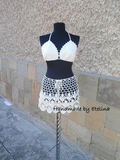 Crochet Beach Set, Crochet Skirt, Lacy Top, Summer Lace Suit, Resort Cover up,  Beachwear Bra - Crochet creation by etelina