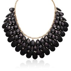 Shop for Gold Overlay Black Onyx Crystal Statement Necklace (18 inches). Free Shipping on orders over $45 at Overstock.com - Your Online Jewelry Shop! Get 5% in rewards with Club O!