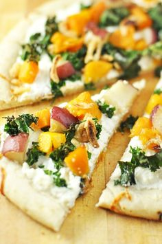 Don't even look at this post unless you love pizza -> Kale, Butternut Squash, Potato and Ricotta Pizza with Fried Onions Recipe....by Jennifer Leal @savorthethyme #fitfluential #recipes #pizza #vegetarian