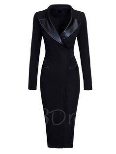 Looking for V-Neck Lapel Slim Long Sleeve Bodycon Dress? Fancywe offers lots of Bodycon Dresses in different styles, colors and materials. Dress your own style with V-Neck Lapel Slim Long Sleeve Bodycon Dress White Dresses For Women, Dresses For Work, Fall Dresses, Plain Dress, Dress Silhouette, Mode Outfits, Coat Dress, Cheap Dresses, Fitted Dresses