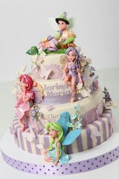 Christening cake with fairies - Cake by Viorica Dinu Pretty Cakes, Beautiful Cakes, Amazing Cakes, Cupcakes, Cupcake Cakes, Fairy Birthday Cake, Birthday Cakes, Fairy Food, Fairy Cakes