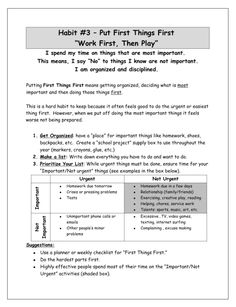 Habit 3 information sheet