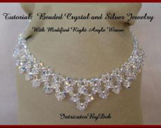 Tutorial Beaded Modified Right Angle Weave Drop Necklace & Bracelet Jewelry in Crystal and Silver - Beading Pattern Beadweaving Instructions
