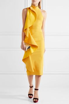 Yellow crepe Hook fastenings through neck, concealed zip fastening along back 48% polyester, 25% rayon, 23% nylon, 4% elastane Dry clean ImportedLarge to size. See Size & Fit notes.