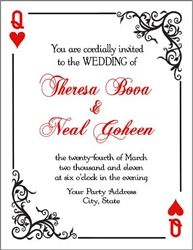 Personalized playing card invitation.  Great invitation for a poker or casino themed birthday party or wedding.