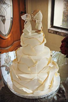 Beauty and the Beast wedding cake. | Pinning for the rose texture concept.