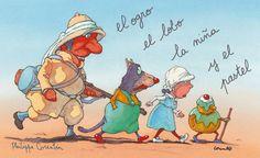 Ilustración: El ogro, el lobo, la niña y el pastel  De risa