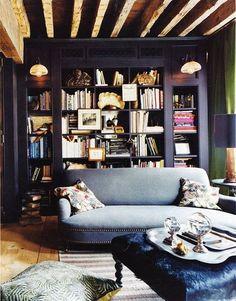 Black Bookcase. Cottage Style Room.