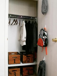 Get your kids in the habit of putting things away with their own coat closet. Elizabeth Joan Designs created a coat closet to store children's outerwear, backpacks and shoes. Make A Closet, Simple Closet, Coat Closet Organization, Organization Ideas, Storage Ideas, Closet Shelving, Clothes Storage, Shoe Storage, Converted Closet