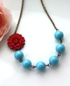 A Red Mum Dahlia Flower & Turquoise Blue Pearls by Marolsha