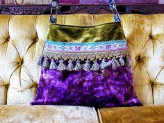 Purple and green velvet boho bag carpet bag