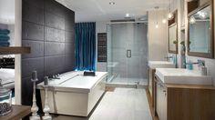 Étonnant jeu de textures dans la salle de bains | Photo: Yves Lefebvre #deco #salledebain #bain #douche