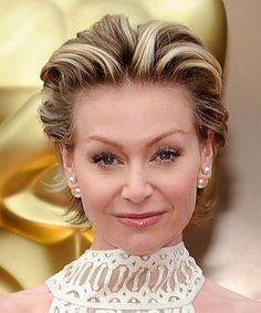 Portia De Rossi Hairstyle - Short Straight Formal - Medium Brunette. Try on this hairstyle and view styling steps! http://www.thehairstyler.com/hairstyles/formal/short/straight/Portia-de-Rossi-86th-academy-hairstyle