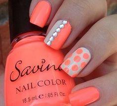Orange Polka Dots & Rhine Stones