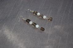 sterling silver smoky quartz & rainbow moonstone earrings