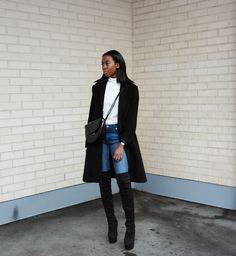 Vintage coat / Turtleneck - Monki / Watch - Daniel Wellington / Purse - Mango / Jeans - Weekday / Boots - Nelly This is one . Over The Knee Boot Outfit, Knee Boots, Daily Look, Autumn Winter Fashion, Winter Style, Daniel Wellington, What To Wear, Fashion Accessories, Normcore