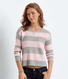 """You may not believe it, but even the school library is a great place to show off our Striped Boxy Sweater! Your study group will def be impressed with your knack for cozy style; this top features a thick textured construction and cool, classic stripes.<br><br>Relaxed fit. Approx. length: 20""""<br>Style: 8219. Imported.<br><br>100% acrylic.<br>Machine wash/dry.<br><br>Model height: 5'9.5""""; Size: Small."""
